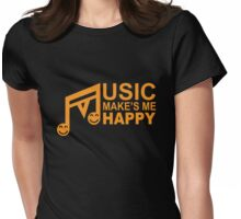 Musical Note, Music Make's Me Happy Womens Fitted T-Shirt