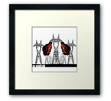 Powerlines with guns Framed Print
