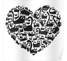 Cute heart made from cats Poster