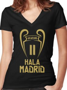 Hala Madrid Champions 11 Women's Fitted V-Neck T-Shirt