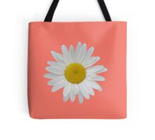 Daisy on peach echo background Tote Bag