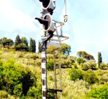Pieve di Tho: railway signal with country landscape Sticker