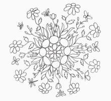 Flower Mandala (black line) One Piece - Short Sleeve
