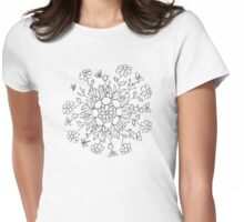 Flower Mandala (black line) Womens Fitted T-Shirt
