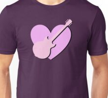 Pink Guitar And Heart Unisex T-Shirt