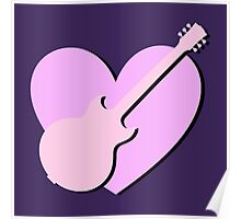 Pink Guitar And Heart Poster