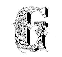 G - Mandala N°1 inside Alphabet N°1 Photographic Print