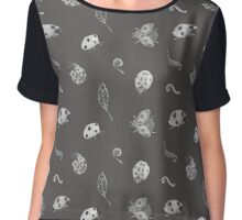 Lady Bug Design Grey Chiffon Top