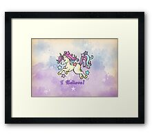 I Believe Chibi Unicorn  Framed Print