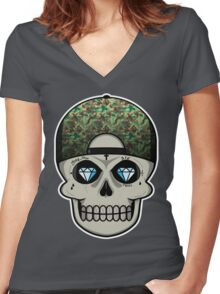 COOL SKULL Women's Fitted V-Neck T-Shirt