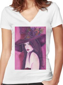 Burgundy witch fantasy art by Renee Lavoie Women's Fitted V-Neck T-Shirt