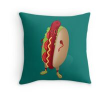 Happy Hotdog Throw Pillow