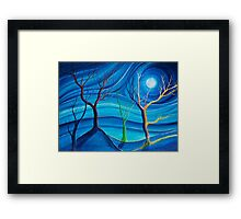 Trees in blue space  Framed Print
