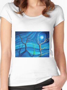 Trees in blue space  Women's Fitted Scoop T-Shirt