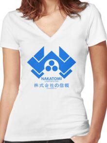 NAKATOMI PLAZA - DIE HARD BRUCE WILLIS (BLUE) Women's Fitted V-Neck T-Shirt