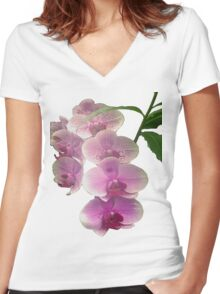 Pretty in pink orchids Women's Fitted V-Neck T-Shirt