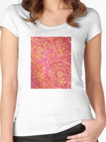 Hot Pink and Gold Baroque Floral Pattern Women's Fitted Scoop T-Shirt