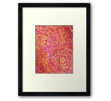 Hot Pink and Gold Baroque Floral Pattern Framed Print