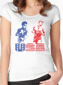 Rocky vs Drago - USA Patriotic Design - Rocky IV - Greatest Boxing Movie of All Time - I Must Break You Women's Fitted Scoop T-Shirt