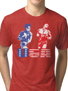 Rocky vs Drago - USA Patriotic Design - Rocky IV - Greatest Boxing Movie of All Time - I Must Break You Tri-blend T-Shirt