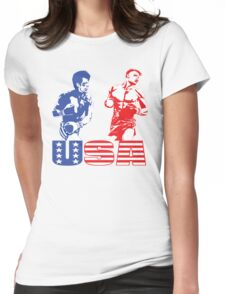 Rocky vs Drago - USA Patriotic Design - Rocky IV - Greatest Boxing Movie of All Time - I Must Break You Womens Fitted T-Shirt
