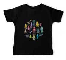 Robots in Space - black Baby Tee