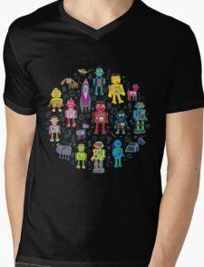 Robots in Space - black Mens V-Neck T-Shirt