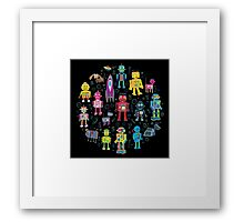 Robots in Space - black Framed Print