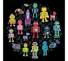 Robots in Space - black Photographic Print