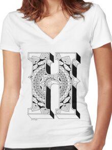 H - Mandala N°1 inside Alphabet N°1 Women's Fitted V-Neck T-Shirt