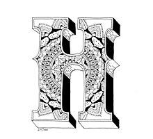 H - Mandala N°1 inside Alphabet N°1 Photographic Print