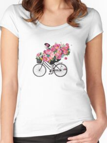 floral bicycle  Women's Fitted Scoop T-Shirt