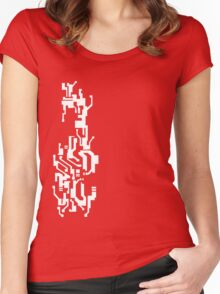 Mirror's Edge Faith digital tattoo pattern, white design Women's Fitted Scoop T-Shirt