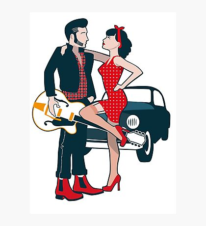Rockabilly Couple Photographic Print