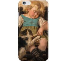 Sleeping Girl on chair with cat iPhone Case/Skin