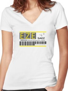 Destination Buenos Aires Airport Women's Fitted V-Neck T-Shirt