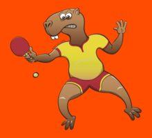 Capybara playing table tennis Kids Tee