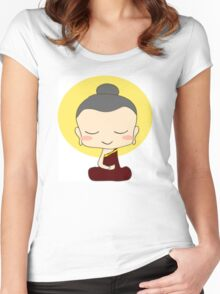 Buddhist Praying Women's Fitted Scoop T-Shirt