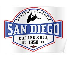 SURFING SAN DIEGO SURF CALIFORNIA SURFER'S PARADISE BEACH SURFBOARD Poster