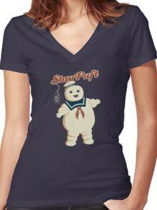 STAY PUFT - MARSHMALLOW MAN GHOSTBUSTERS Women's Fitted V-Neck T-Shirt