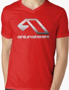 Blue Cracked Anjunabeats Mens V-Neck T-Shirt