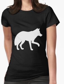 White standing wolf Womens Fitted T-Shirt