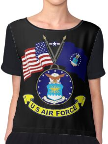 U. S & Air Force Crossed Flags Chiffon Top
