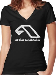 Cracked Anjunabeats new Women's Fitted V-Neck T-Shirt
