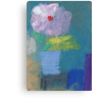 Blue striped flower pot Canvas Print