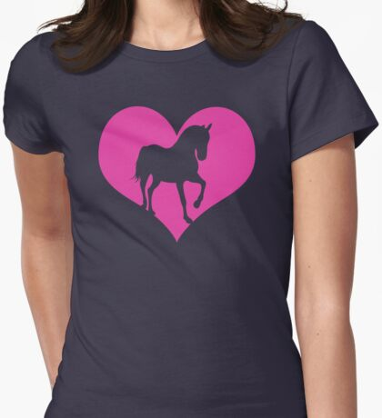 Heart Horse Womens Fitted T-Shirt
