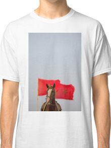 Horse portrait  with a red Moroccan flag and clear sky Classic T-Shirt