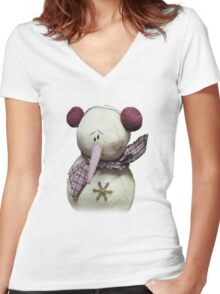 Fuzzy The Snowman  Women's Fitted V-Neck T-Shirt