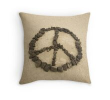 Peace shape made with stones Throw Pillow