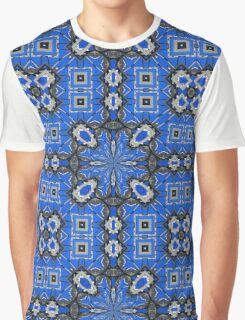 Abstract in Blue & Gray Graphic T-Shirt